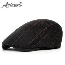[AETRENDS] 2016 Осень Зима Классический Плед Шерстяной Берет Шляпы для Мужчин Шапки Береты Z-3966