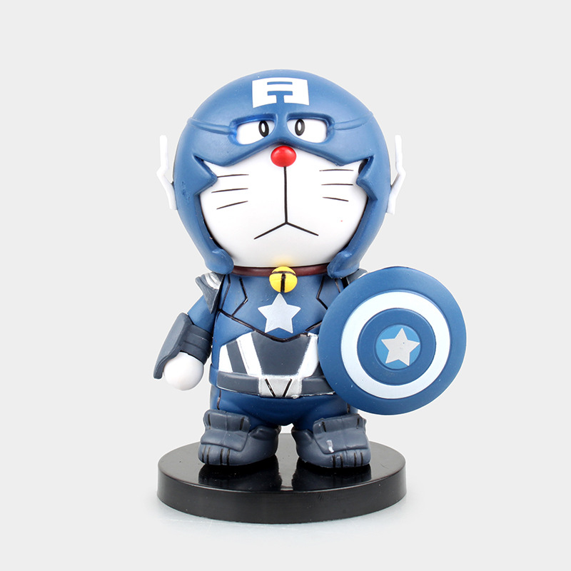 Free Shipping Cute 3 Anime Doraemon Cosplay Show cos Captain America Blue Ver Boxed 14cm PVC Action Figure Model Doll Toys Gift