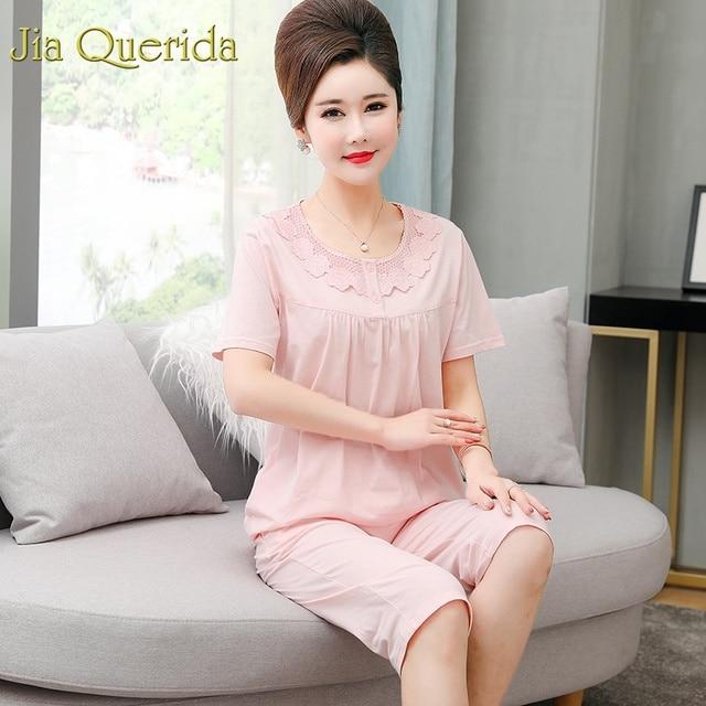 7222b9cae823 J & Q женские хлопковые домашние костюмы 2019 летние шорты модные большие  размеры 4xl розовые кружевные аппликации однотонная Пижама элегантная