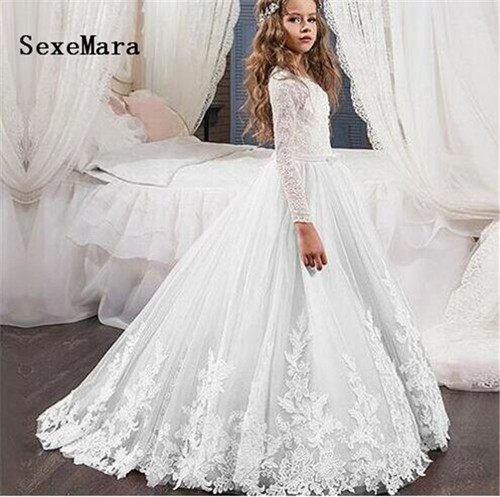 Long Sleeves White Flower Girl Dress for Wedding Lace Applique O Neck Girls Birthday Gown First Communion Dress Custom Made white casual round neck ruffled dress