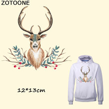 ZOTOONE Pretty Flower Deer Iron on Transfer Patches for Clothes Decoration DIY Stripes Applique T-shirt Custom Patch Stickers E
