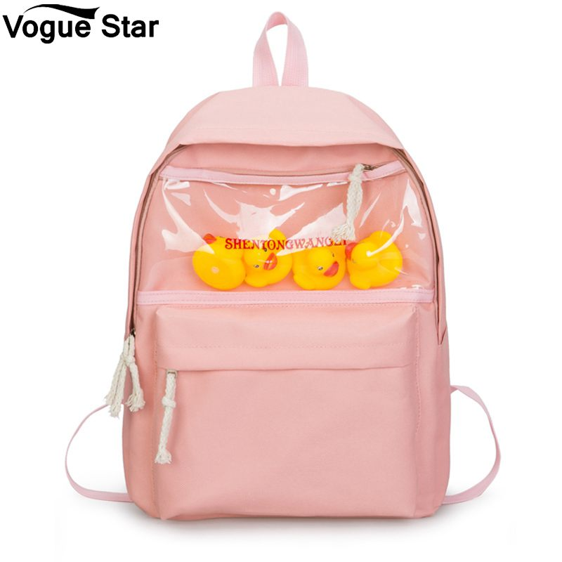 Casual Backpack Mochila Shoulder-Bag Duck Teenager Female Canvas Cute Girl Fashion Women