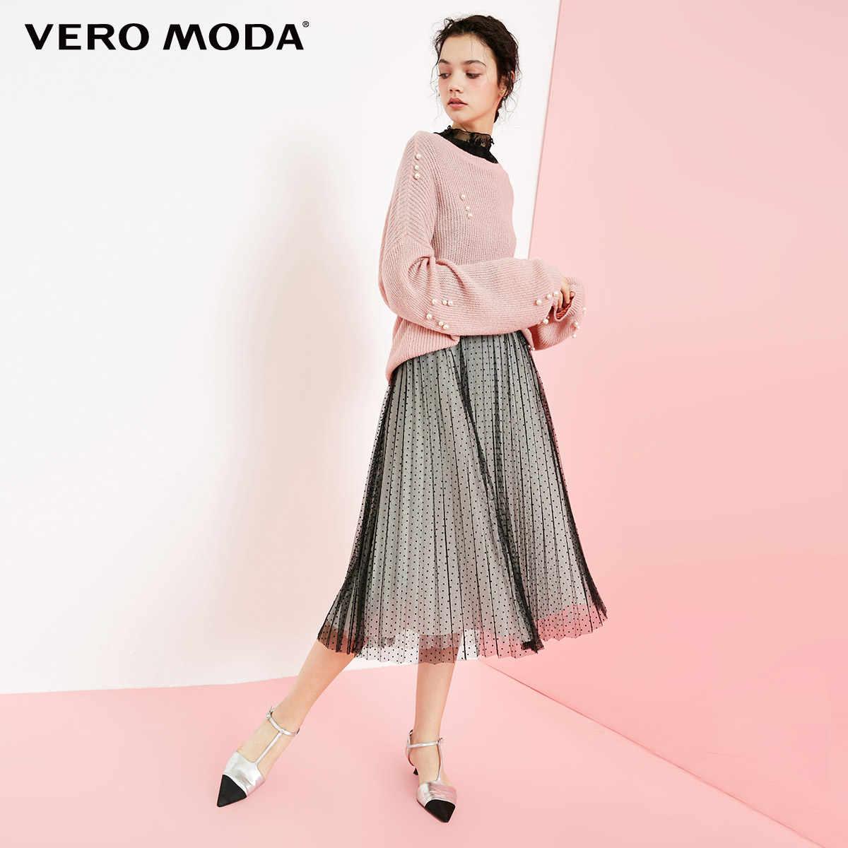Vero Moda 2019 новые жемчужные круглые Висячие Плечи свитер для фейерверка женщин | 318413523