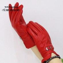 Yiyyunshu, перчатки из натуральной кожи, женские,, брендовые, из овчины, теплые, одноцветные, женские, из натуральной овчины, варежки, модные, вечерние, для девушек