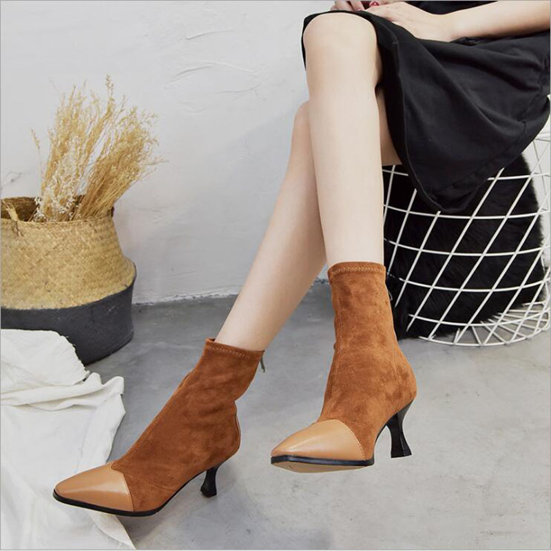 Leather Thin Heels Office Shoes New Arrival Women Pumps Fashion High Heels Shoes Women's Pointed Toe Sexy Shoes Shallow 4