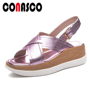 CONASCO New Vintage Fashion Solid SheepSkin Women Sandals Buckle Rome Women Flats Party Shoes Woman Comfortable Office Shoes