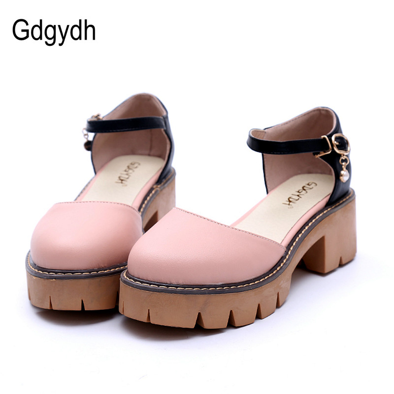 Gdgydh Casual Summer Shoes Woman 2018 New White Thick Heels Platform Shoes Fashion Crystal Women Sandals Heels Big Size 43 women creepers shoes 2015 summer breathable white gauze hollow platform shoes women fashion sandals x525 50