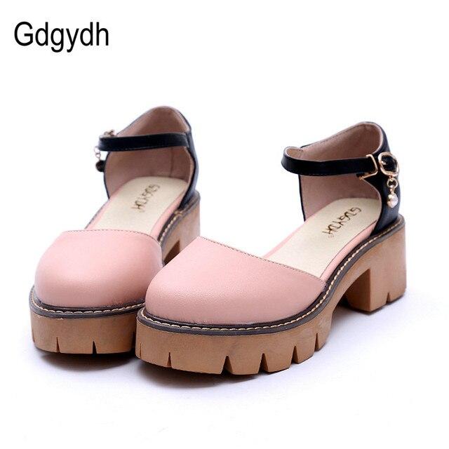 Zapatos mujer nuevo estilo grueso con tacones plataforma, zapatos moda cristal mujeres sandalias tacones.