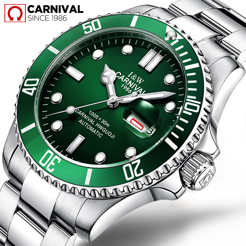 Top Brand Luxury CARNIVAL Watch Men GMT Automatic Mechanical Watches Business Luminous Sapphire Stainless Steel Diving Watch 2017 carnival luxury brand mechanical watch women leather bracelet waterproof sapphire mirror stainless steel automatic watches