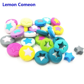 Lemon Comeon 200PCS Star Round Pie Teething  Silicone Beads Baby Teethers DIY Pacifier Chain Necklace Nurse Newborn Gift 21MM