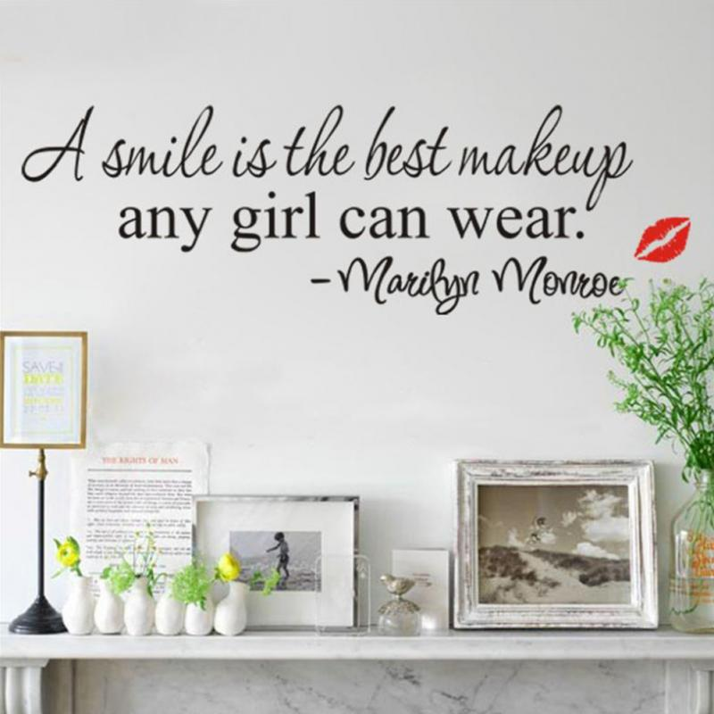 Online Shop A Smile Is The Best Makeup Any Girl Can Wear Marilyn Monroe  Wall Decals Living Room Decoration Wallpaper Quote | Aliexpress Mobile