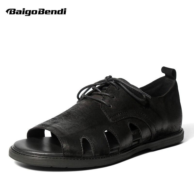 คุณภาพสูง 2018 ฤดูร้อนใหม่ลูกไม้ขึ้นรองเท้าแตะย้อนยุคสไตล์โรมันรองเท้าแตะฤดูร้อนอินเทรนด์ผู้ชายรองเท้าลำลองสีดำ-ใน รองเท้าแตะผู้ชาย จาก รองเท้า บน   1