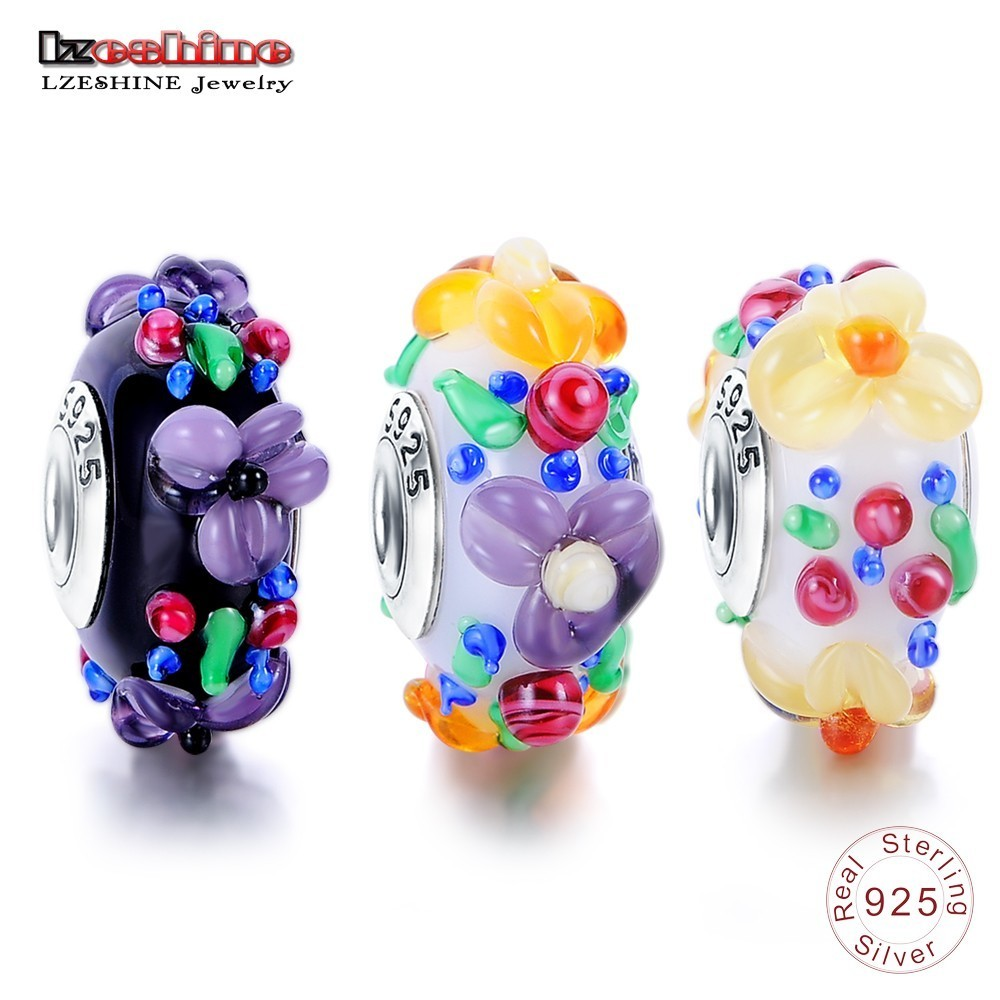 LZESHINE Murano Glass Silver 925 Core Hawaiian Maui Floral Charm Bead Fit Orginal Pandora Charms Bracelet Fashion Dropshipping цена 2017