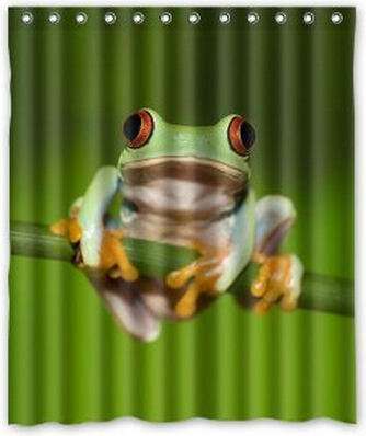 Custom Unique Design Funny Cute Tree Frog Waterproof Fabric Shower Curtain,  72 By 60