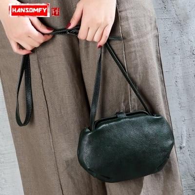Crossbody Echtem leder Frauen schulter tasche flut kreative kleine tasche original design retro tasche mode persönlichkeit umhängetasche-in Schultertaschen aus Gepäck & Taschen bei  Gruppe 1