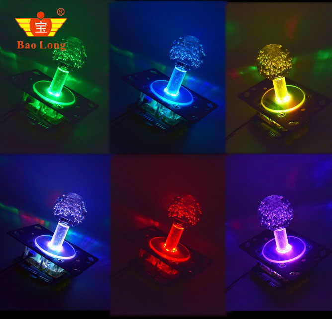 Newest High quality LED illuminated Joystick with colorful lights Arcade Jamma game with  micro switches for Game Machine