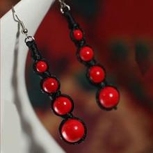 BOEYCJR, этническая винтажная Ювелирная цепочка, красный натуральный камень, бусины в форме капли, висячие серьги-Крючки для женщин, Aretes ohringe