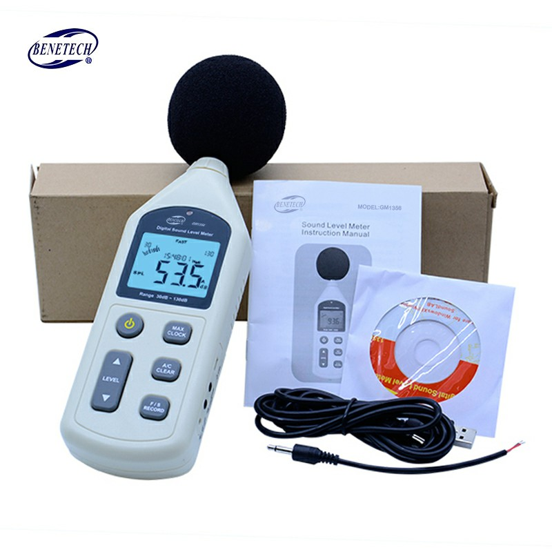 BENETECH Digital Sound Level Meter USB Noise Tester meter GM1356 30-130dB A/C FAST/SLOW dB+ Software 2pcs lot gm1357 digital sound level meter noise tester 30 130 db lcd a c fast slow db screen