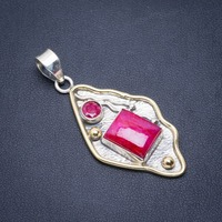 Natural Two Tones Chery Ruby Handmade Unique 925 Sterling Silver Pendant 2 A1587