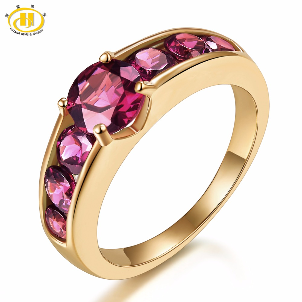 Hutang Natural Gemstone Rhodolite Garnet Rings Solid 925 Sterling Silver Yellow Gold Ring Fine Fashion Jewelry