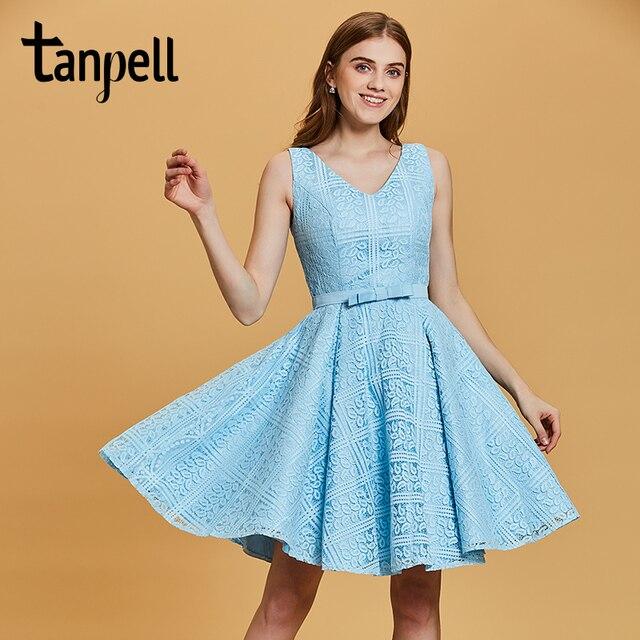 Tanpell v neck homecoming kleider blau ärmel über eine linie kleid ...