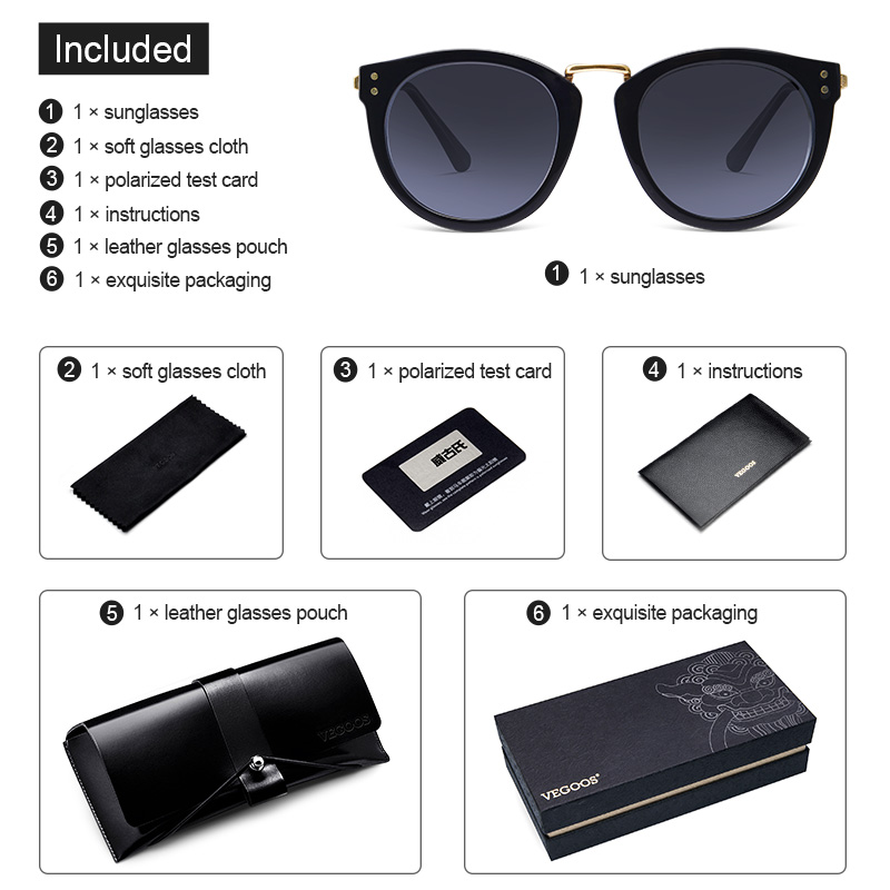 VEGOOS New Women Polarized Round Sunglasses Brand Designer Fashion Retro Cat Eye Polaroid Sun Glasses gafas de sol mujer 6113 in Women 39 s Sunglasses from Apparel Accessories