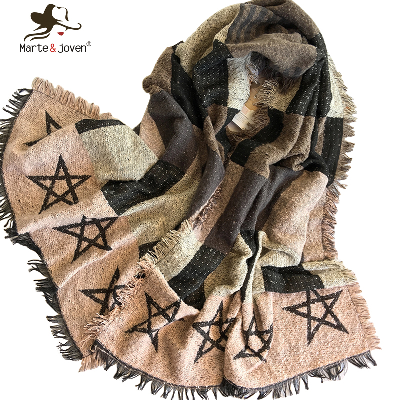 Marte Joven New Fashion Winter Knitted Scarf and Wrap for Women Fringed Brim Soft Warm