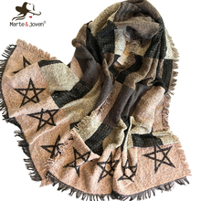 [Marte&Joven] New Fashion Winter Knitted Scarf and Wrap for Women Fringed Brim Soft Warm Oblong Scarves Ladies Tartan Shawl