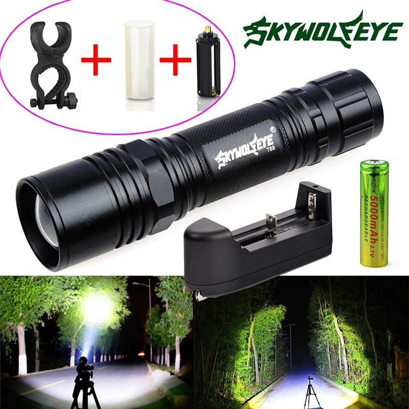 Tactical XM-L Q5 LED Flashlight Zoom Torch 6000 Lumens Lamp + 18650 Battery + Charger Cycling Bicycle Bike Front Hand Light M20