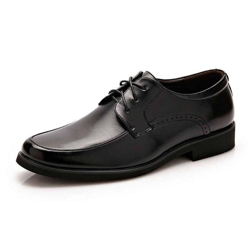 Ms8107115 Cuir Mens Bureau En Robe De Hommes Black Chaussures Marque Social Mode Printemps 6nAwOUax