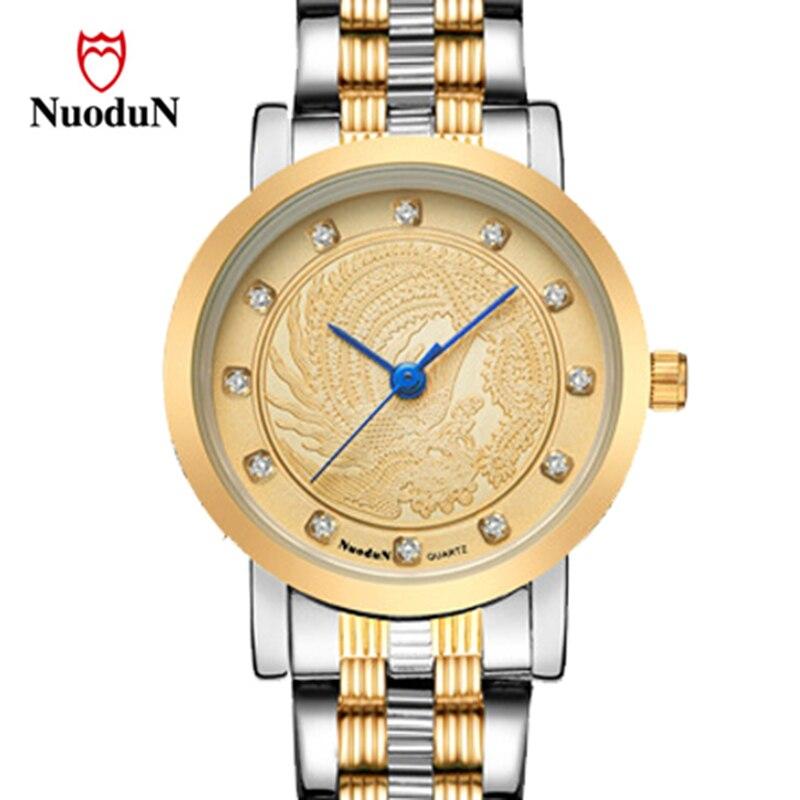 Nuodun Casual Women Watch Stainless Steel Top Brand Luxury Watches Gold Quartz Wristwatches Waterproof Clocks Montre Femme