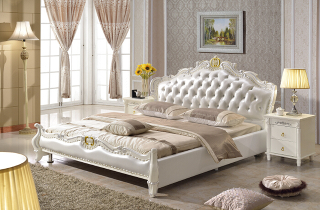 european style king size white synthetic leather bed bedroom
