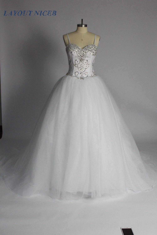 Crystal Ball Gown Wedding Dress 2018 Sweetheart Spaghetti Straps Beads vestido de noiva Bridal Dress robe de mariee