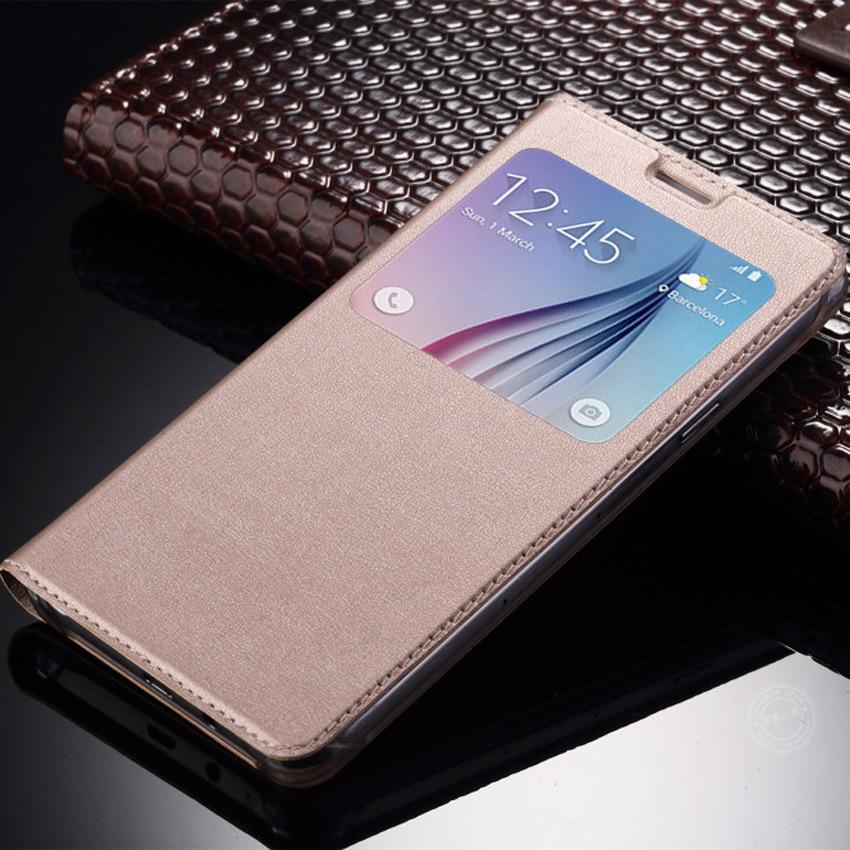 Deluxe View Jendela PU Kulit Kasus Untuk Samsung Galaxy A3 A5 A7 2017 2016 S7 Tepi Catatan 8 J1 J2 J3 J5 J7 2016 J5 J7 Prime S8 + Ditambah