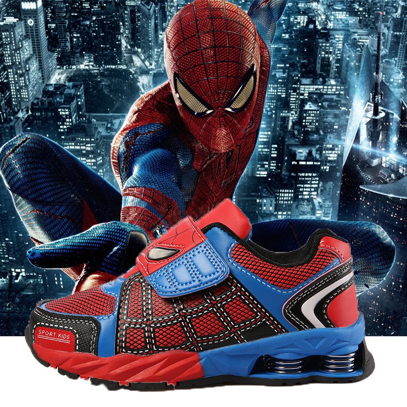 Summer Kids Sport Shoes 2016 Spring Spiderman Elastic Shoes Boys Fashion Sneakers Toddlers Brand Girls Shoes RunningSshoes