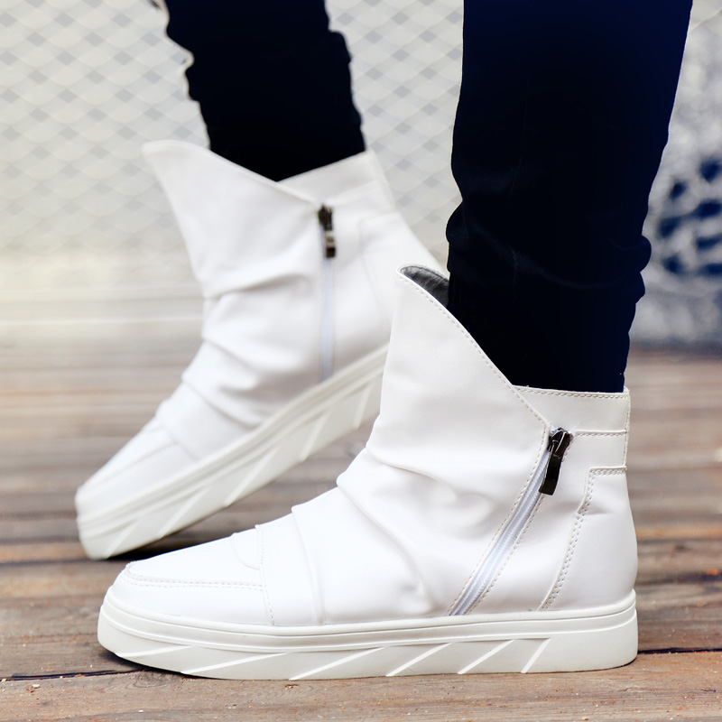 Male Autumn Winter Height Increase Zipper Ankle Botas Men Chunky Sneakers Hip Hop  Shoes Men High Top Street Dance Sneakers