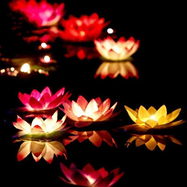 Free Shipping Artificial Led Floating Lotus Flower Candle Lamp With