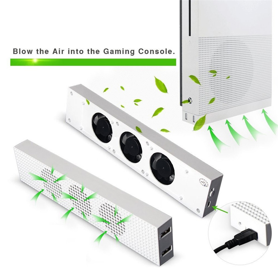 OIVO Cooling Fan For Xbox One S Built-in Adjustable Micro USB Connection Cooler With 3 High Speed Fans For Xbox One S Console