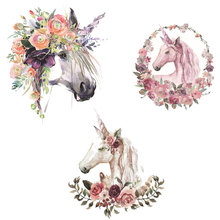 Unicorn Cartoon Flower Horse Ironing on Patches Sticker Heat Transfers Stickers for Families Patch DIY Appliques Stripes Badges