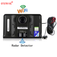 Otstrive 7 дюймов gps навигации Android gps DVR 16 г Антирадары заднего вида Двойной Камера Allwinner A33 4 ядра Wi Fi тире Камера