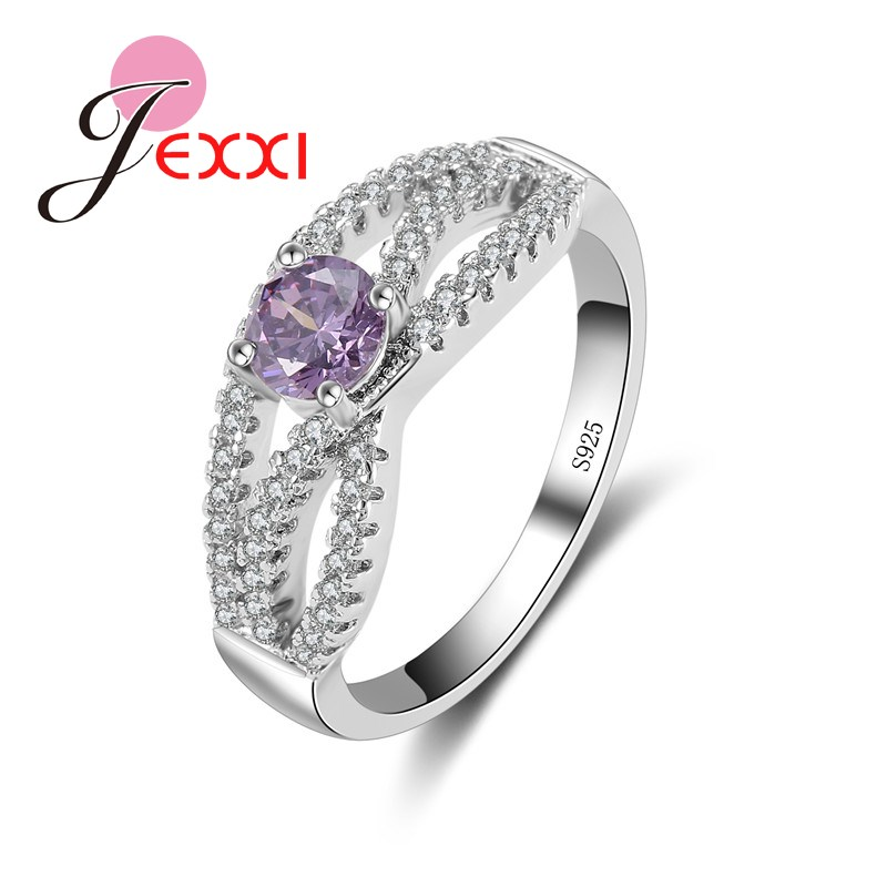 JEXXI High Quality Purple Crystal Pretty Women Finger Rings 925 Sterling Silver Cubic Zirconia Ladies Engagement Ring Wholesale