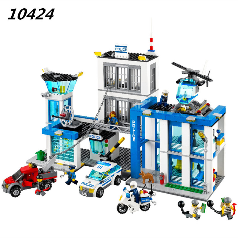 AIBOULLY 2017 New 890pcs 10424 City Police Station building blocks Action Figures set helicopter jail cell  Bringuedos 60047 519pcs city police station building blocks action figures set transform robot compatible with 60047 for kid gift
