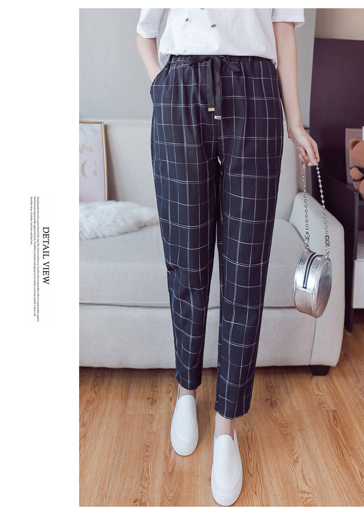 Make English plaid pants female easy to restore ancient ways recreational pants the spring and autumn period and the new female 7