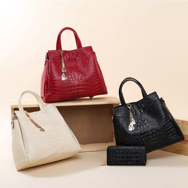 Fashion Crocodile Leather Handbags Women Shoulder Bags Solid Casual Tote Bag Ladies Large Capacity Handbag For Women Gift wallet Lahore