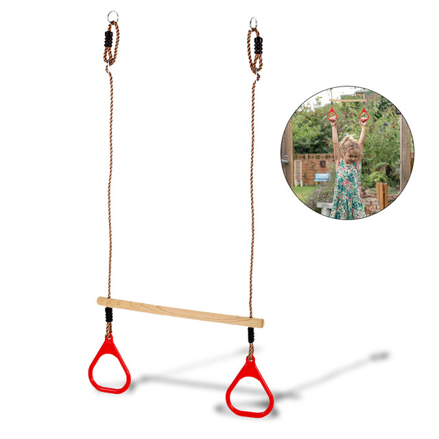 Kids Children Wood Wooden Gymnastics Rings Exercise Crossfit