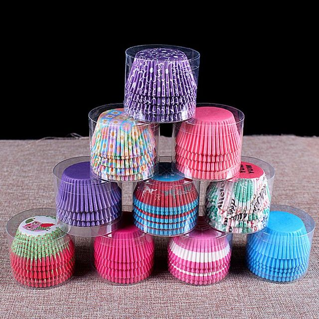 100Pc/Set Paper Cake Forms Cupcake Liner Baking Muffin Box Cup Case Party cake decoration Cupcake Paper kitchen party supplies