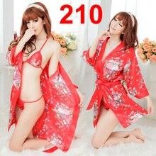 3pcs Full Set Sexy Robe BathRobe Night Gown Nightdress Nightwear Pajamas Sleepwear Lingerie #210