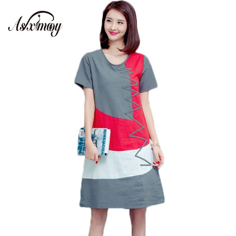 c81db469a3a 5XL Plus Size Loose Casual Summer Office Maxi Long Dress Women Vintage  Patchwork Cotton Linen Dress Vestido 2018 Fashion Dresses
