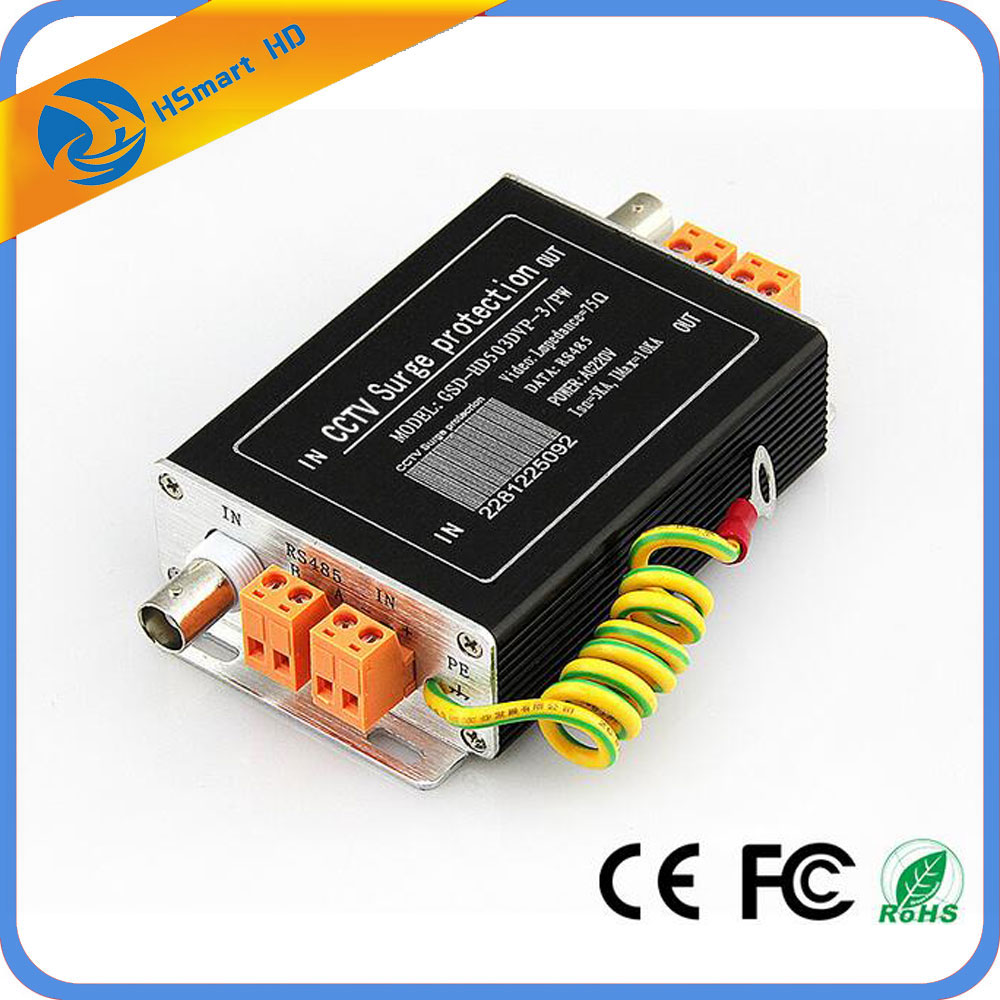 CCTV Analog video & power supply & RS485 data surge protector For PTZ ZOOM Camera DVR KITS 4pcs 12v 1a cctv system power dc switch power supply adapter for cctv system