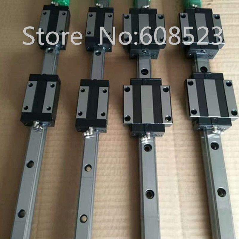 CNC Set 25 1300mm 2x Linear Guideway Rail 4x Square type carriage bearing block